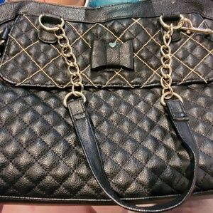 Large black quilted Betsey Johnson purse